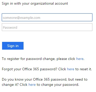 Outlook sign-in screen
