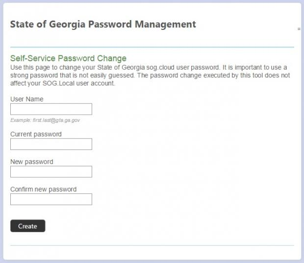 Password management screen